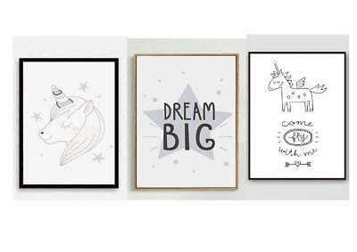 Unicorn Canvas Art Prints Set of 3 Childrens Bedroom Wall Dreams Not Framed