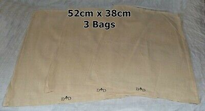 3 x LARGE Military Army Surplus Cotton Calico Unbleached Bag Sacks Carry All NEW