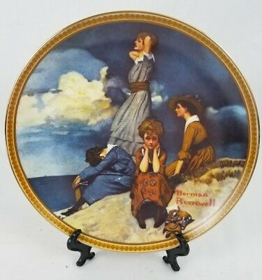 """Norman Rockwell Plate """"Waiting On The Shore"""" Rediscovered Women limited edition"""