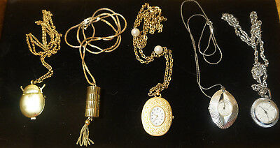 Vintage Necklace Watch Lot of 5 Not Working