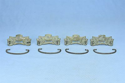 Antique SET 4 VICTORIAN LION HEAD PRESS BRASS DRAWER HANDLE PULL HARDWARE #03527