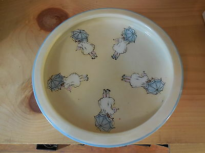 Antique child's bowl with Little Girls holding Umbrellas;  H & Co. Selva Bavaria