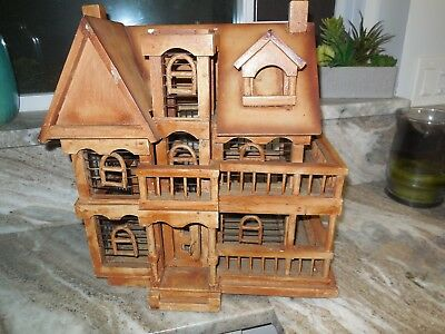 "Large 17"" Vintage Victorian House Bird Cage Metal & Wood Dollhouse Miniature"