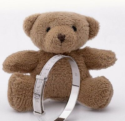 Sterling Silver Baby Bangle Bracelet Expandable for Baby Shower with Teddy Bear