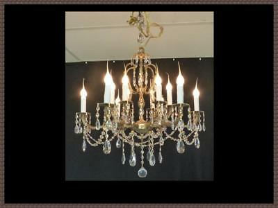 Vintage French Solid Brass Chandelier Amazing Full leaded Crystals 12 Light wow!