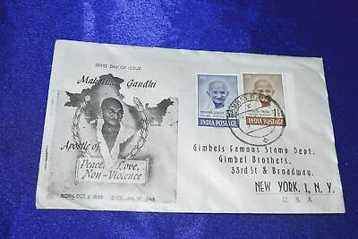 India 1948 Mahatma Gandhi 1948 FDC First Day Cover 2 Values