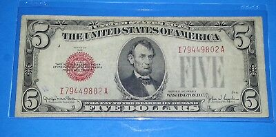 *1* 1928 F  5$ Red Seal! Old Us Paper Money ! Wide I Series ! F/ Cond.!!