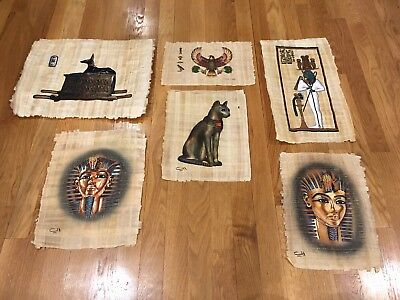 Lot Of 6 PAPYRUS PAPER EGYPTIAN HAND Painted Ancient Paintings Authentic Paper