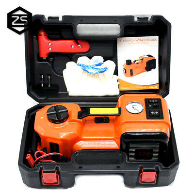 12V DC 3.5T Electric Hydraulic Floor Jack Tire Inflator Pump Safe Hammer Tool