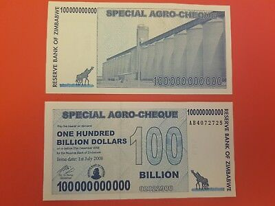 Zimbabwe 100 Billion Special Agro-Cheque UNCirculated  Free Postage Very RARE