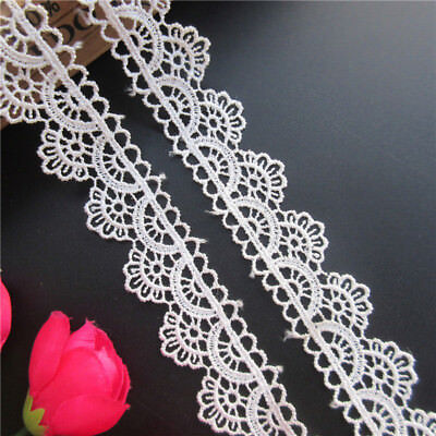 3 Meters White Embroidered Lace Edge Trim Ribbon Wedding Applique Sewing Craft
