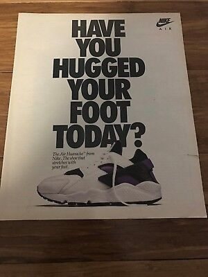 "Original 1992 NIKE AIR HUARACHE ""HUG YOUR FOOT"" Vintage Poster Print Ad RARE"