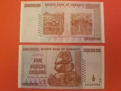 Zimbabwe 5 Billion Dollars UNCirculated BANKNOTE  2008 AA Prefix Free Postage