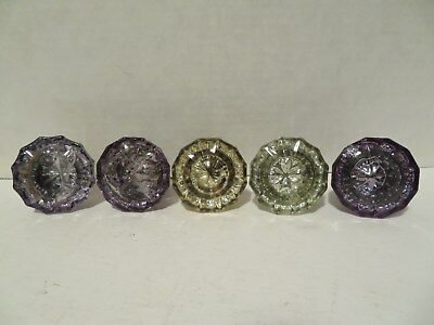 5 OLD GLASS DOOR KNOBS PURPLE AND GREENISH YELLOW some with damage!