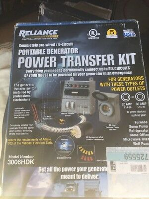Reliance 3006HDK 6-Circuit Power Generator Transfer Switch Box Kit BNIB Sealed