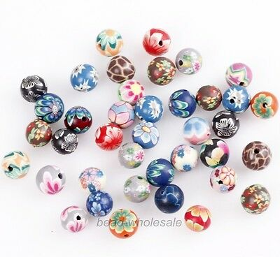 40pcs Mixed Colors Polymer Clay Fimo Flower Round Loose Spacer Beads 8mm