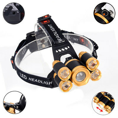 5-LED Zoom LED Headlamp Head Light Torch Charger 80000LM 18650 Rechargeable