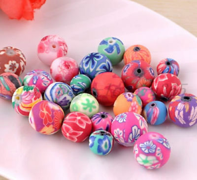 Mixed Polymer Clay Fimo Flower Round Loose Spacer Beads 8/12mm Jewelry DIY