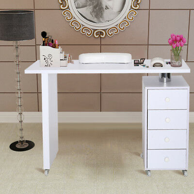 Manicure Table Nail Art Polish Technician White Desk Salon with 4 Drawer Wheels