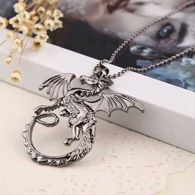 Game of Thrones Targaryen Fire Dragon Silver Pendant Necklace Charms Jewelry Hot
