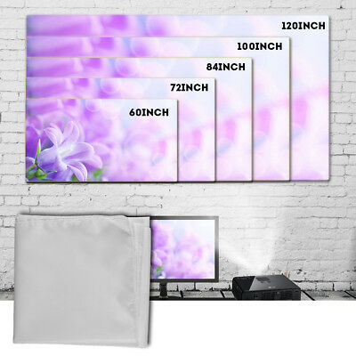 "60""/72""/84""/100""/120"" Projector Projection Screen 16:9 Home Cinema Theater White"