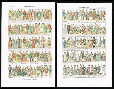 1922 Lot of 2x Antique Prints - Clothing & Fashion from Ancient Times to Modern