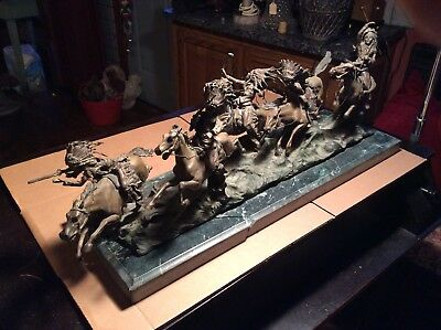"Vintage Carl Kauba Signed 30"" Bronze - Attack ( War Party ) - Very Good"