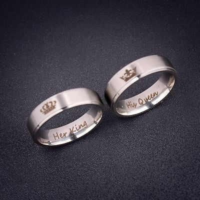 Her King His Queen Romantic Couple Ring Jewelry Stainless Steel Wedding Gifts