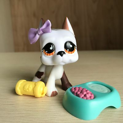 Littlest Pet Shop White Brown Great Dane Dogs #750 LPS Toys Carry Accessories