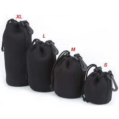 Soft Neoprene Belt Loop Drawstring Lens Bag Pouch Cover S M L XL For DSLR Camera