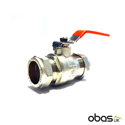 Lever Ball Valve 28mm Red Handle Compression Full Bore