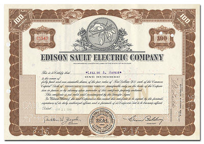 Edison Sault Electric Company Stock Certificate