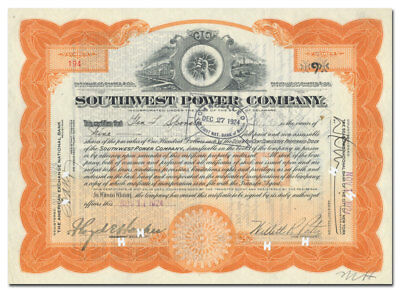 Southwest Power Company Stock Certificate (McAlester, Oklahoma)