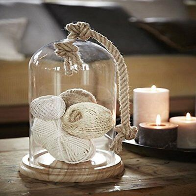 Glass Bell Jar Stolp With Rope and Wooden Base Home Decoration Garden Dome Lante