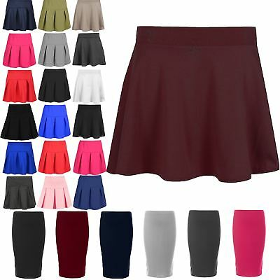 Kids Girls High Waisted Stretch Skater Skirt Flared Uniform School Mini Skirt