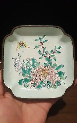 Late 19th Century Early 20th Chinese Canton Enamel Plate