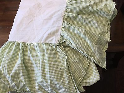POTTERY BARN KIDS Green GINGHAM Checker Crib Skirt, Dust Ruffle Baby, EUC