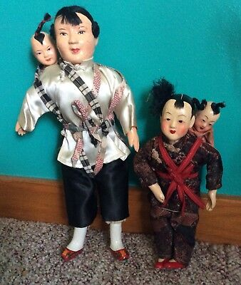 Vintage Composition Oriental Doll With Baby Sling Backpack Chinese Japanese Silk