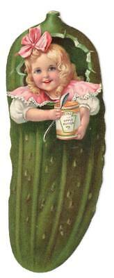 Vintage Heinz Pickle Die Cut Trade Card Girl Spoon Can Of Apple Butter