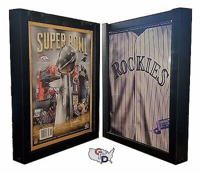 "UV Protecting Lot of 2 Sports Program Magazine Display Frame .5"" Deep GameDay"