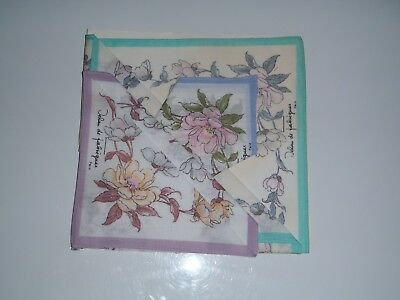 Vintage Handkerchiefs, Set Of 3, 100% Cotton, Made In Japan, Still New In Packet