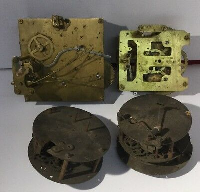 Lot Of 4 Antique / Vintage Clock Movements - Good Quality, Chimers Etc.