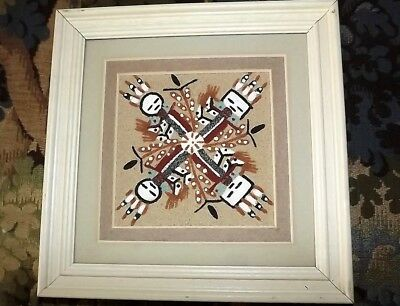 Navajo Sand Painting Signed Native American Art -   Healing signed