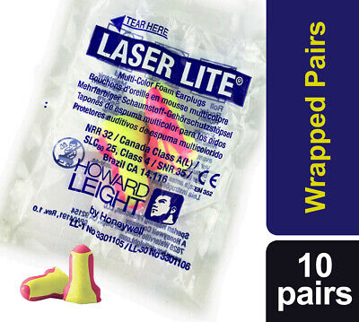 20 soft foam ear plugs (10 pairs) Howard Leight Laser Lite earplugs- free UK P&P