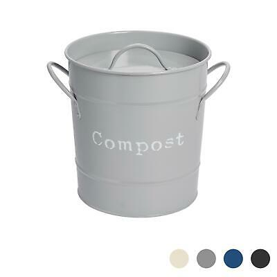 Kitchen Compost Bin With Lid in Vintage Metal Grey Bucket Container Garden