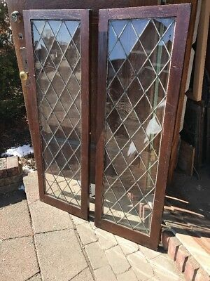 Sg 2125 Two Available Price Separate Antique Leaded Glass Window 17.75 X 53