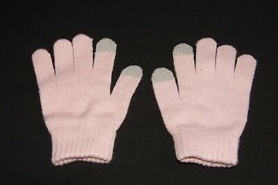 Cute Everyday Look Girly Winter Soft Pink Knitted Touch Screen Gloves  S(334)