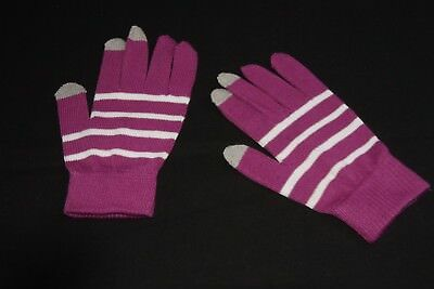 Chic Purple Winter Acrylic Touch Screen Women Gloves with White Stripes S(334)