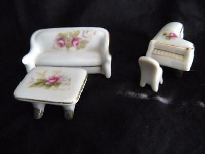 Vintage Made In Japan Doll house Miniature Set- Piano, Couch, Chair and Ottoman