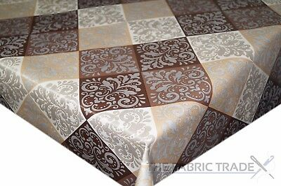 Brown Quilted Silver Damask PVC Tablecloth Vinyl Oilcloth Kitchen Dining Table